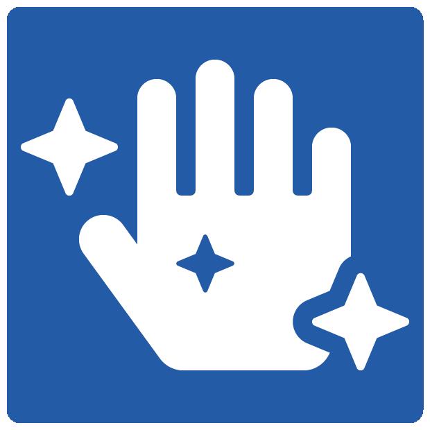 Icon voor regelmatig handen wassen in strijd tegen covid