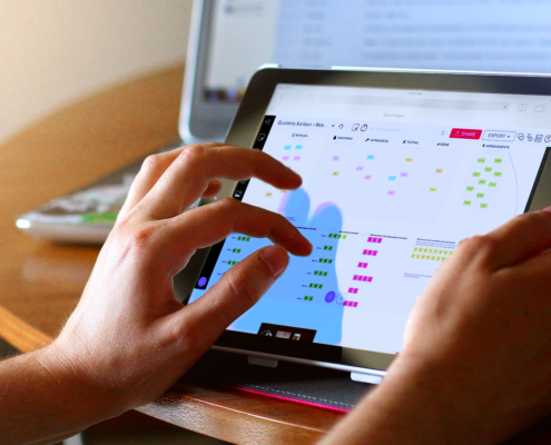 remote agile kanban bord op tablet